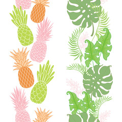 Tropical pineapples, leaves borders frames set. Great for summer exotic wallpaper, backgrounds, packaging, fabric, and giftwrap projects. Surface pattern design.