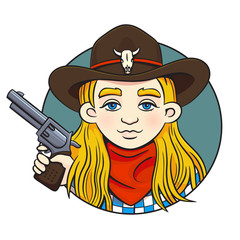 Colored in cartoon style vector round illustration with young rodeo girl in cowboy hat and revolver in her hand. Can used for printing on clothes, bahners, posters, web design.