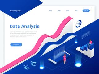 Data Management System and Business Analytics Concept isometric vector illustration. Hosting Server or Data Center Room web banner