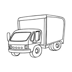 Truck cartoon illustration isolated on white background for children color book