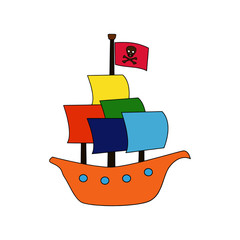 Pirate Boat cartoon illustration isolated on white background for children color book