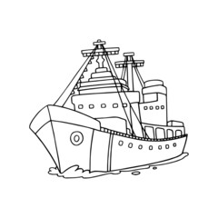 Cargo ship cartoon illustration isolated on white background for children color book