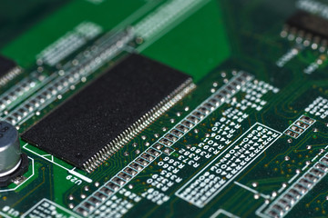 Microchips, radioelements, processor on the electronic board, motherboard
