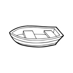 Fishing boat cartoon illustration isolated on white background for children color book