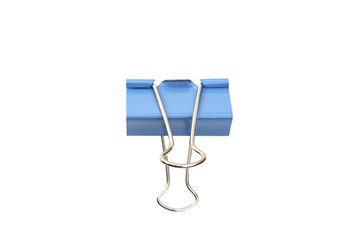 Blue Paper clip isolated on white background.