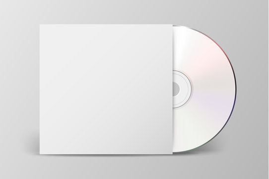 Vector realistic 3d white cd with cover icon isolated. Design template of packaging mockup for graphics. Front view