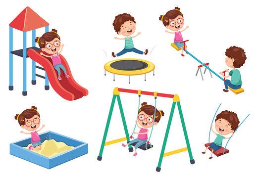 Vector Illustration Of Children At Park