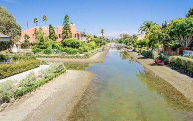 Residential area with canals in Venice Beach, California, USA