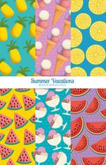 fresh fruits set patterns backgrounds vector illustration design