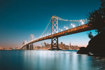 Canvas Prints San Francisco San Francisco skyline with Bay Bridge at twilight, California, USA