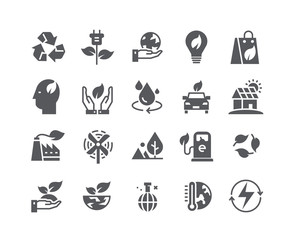 Simple flat high quality vector icon set,Ecology and Nature Environment,Global Warming, Forest, renewable energy and more.  48x48 Pixel Perfect.
