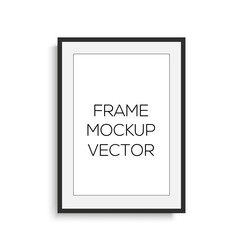 Realistic vertical black photo frame. mock up. Vector.
