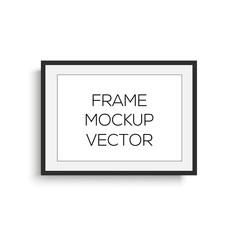 Realistic horizontal black photo frame. mock up. Vector.