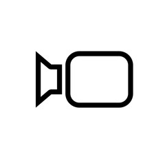 Video camera icon for use in small sizes; flat vector graphic on isolated background. Variant No. 2
