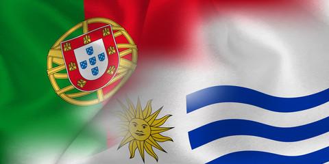ポルトガル ウルグアイ  国旗 サッカー