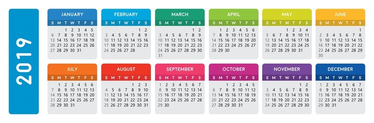2019 calendar. Horizontal calendar template on isolated white background. Editable vector file available.