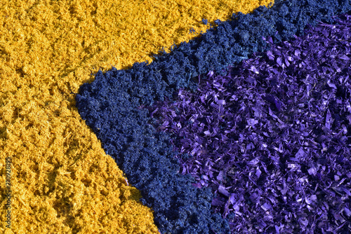 Background of colored wood shavings