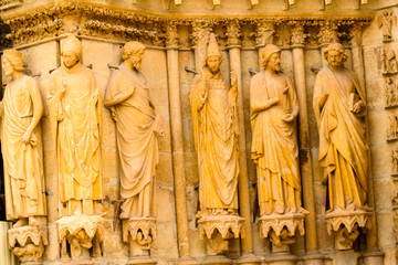 Statues in Reims Cathedral (Notre-Dame) is a Roman Catholic church in Reims, France
