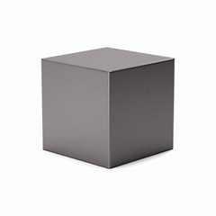 Silver cube isolated on white background. 3D Render Illustration