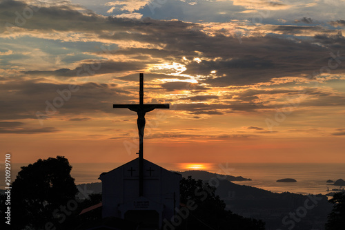 Beautiful Sunset With Jesus Cross Stock Photo And Royalty Free
