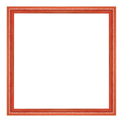 The antique red frame on the white background