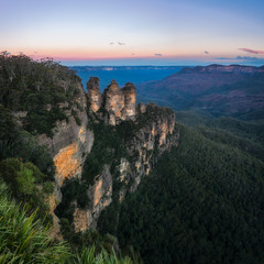 Blue haze at sunrise at Three Sisters - View from Ecco Point in Blue Mountains , Australia