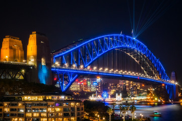 Sydney Harbour Bridge dressed in Vivid Blue Color -New South Wales, Australia