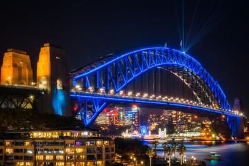 Sydney Harbour Bridge dressed in Vivid Blue Color -New South Wales, Australia