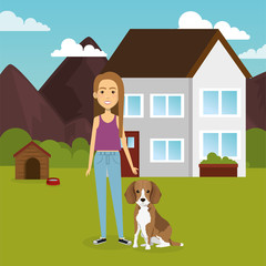 young woman with mascot in the garden vector illustration design
