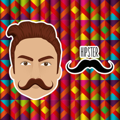 head man style hipster character vector illustration design