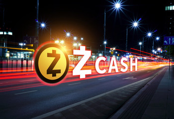 Concept of ZCash coin moving fast  on the road, a Cryptocurrency blockchain platform , Digital money