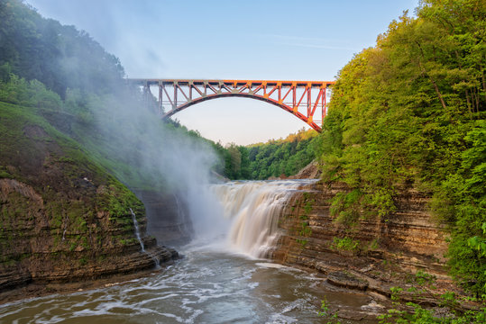 Upper Falls Arched Bridge At Letchworth State Park In New York