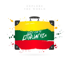 Suitcase with the flag of Lithuania. Lettering