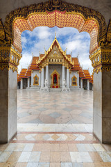 The Arch at the Marble Temple, Wat Benchamabophit, Bangkok, Thailand. Famous Tourist Destination. Portrait Oreintation.