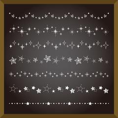 星のラインセット 手描き風  / vector eps 10