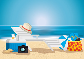 Wall Mural - beach with summer holidays icons vector illustration design