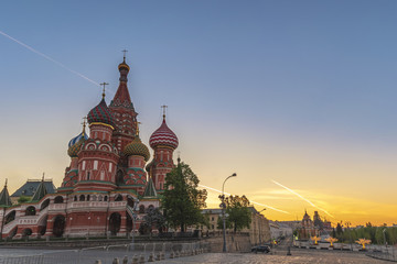 Moscow sunrise city skyline at Red Square and Saint Basil 's Catherdral, Moscow, Russia