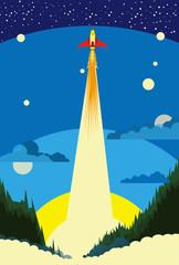 宇宙へ向かうロケットのイラスト
