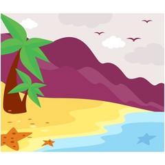 mountain summer coast beach sea ocean scenery background