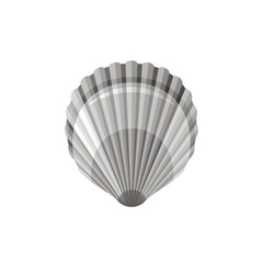 Sea travel vector symbol isolated on white background. Seashell scallop underwater life picture. Shell 3d vacation illustration. Cartoon cute icon. Summer holidays sign. Seafarer day clip art