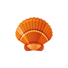 Sea travel vector symbol isolated on white background. Seashell mollusk underwater life picture. Cute 3d vacation illustration or logo. Cartoon icon. Summer holidays sign.