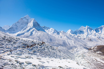Beautiful snow mountain views on route to Everest Base Camp