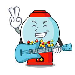 With guitar gumball machine mascot cartoon