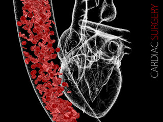 human heart and vein with blood cells. polygonal graphics. 3d Illustration