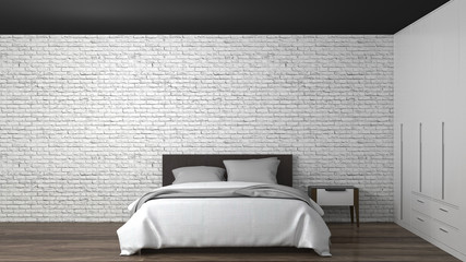 White bedroom, bed, closet, empty  interior background  3d illustration home designs White brick wall loft style