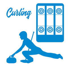Playground for curling, broom, stone and athlete.