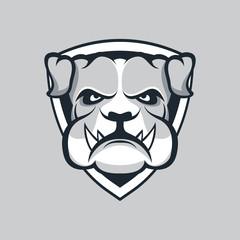 Modern professional logo for sport team. Bulldog mascot. Bulldogs, vector symbol on a dark background.