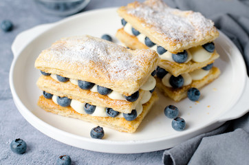 Freshly Baked Millefeuille Cake with Puff Pastry, Cream and Blueberry