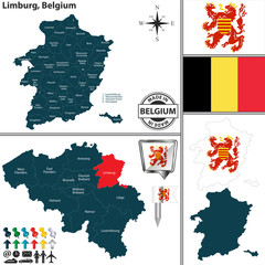 Map of Limburg, Belgium