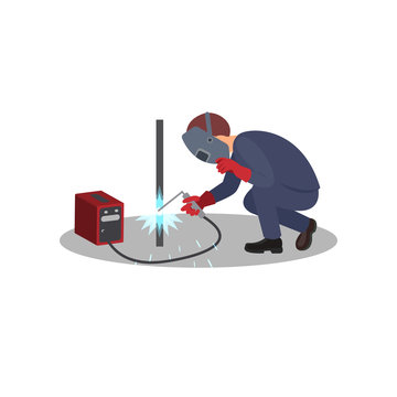 Man welds metal stick, construction works. Professional welder at work. Worker in welding mask and protective gloves. Flat vector design